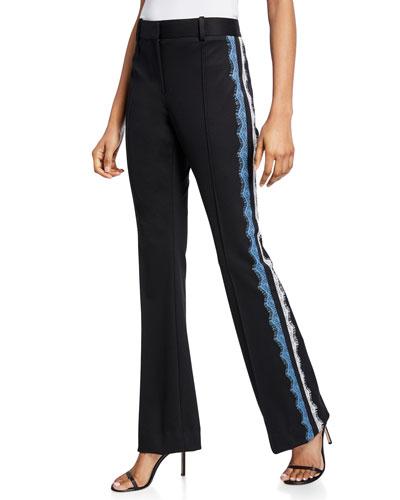 Coyne Lace Pintuck Boot-Cut Pants