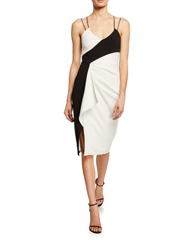 Arlene Colorblock Ruffle Side Sheath Dress