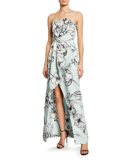 Parker Black Whitney Floral Satin Strapless Arched Gown