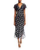 Shoshanna Esmira Metallic Floral V-Neck Flutter-Sleeve Midi Dress
