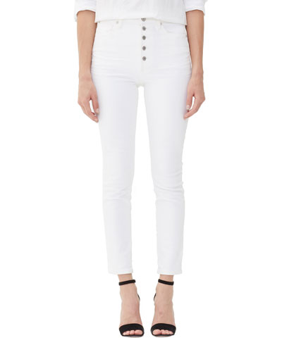Olivia Exposed Fly High-Rise Slim Ankle Jeans