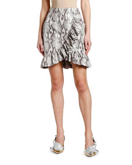 MSGM  Snake Ruffle Wrap Skirt