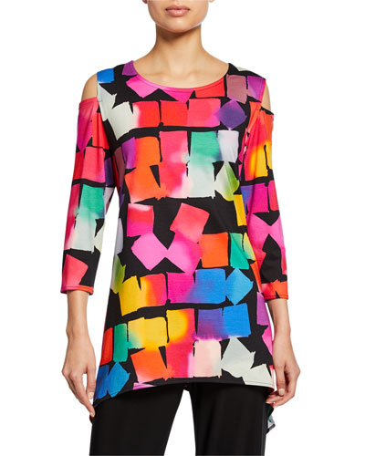Kaleidoscope-Print Cold-Shoulder 3/4-Sleeve Tunic