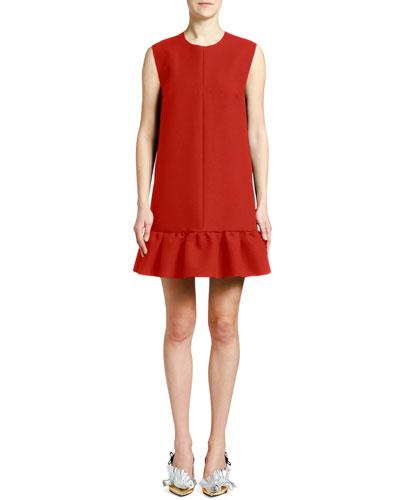 Crewneck Sleeveless Mini Flounce Dress