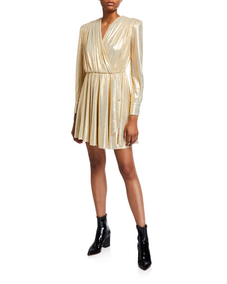 MSGM V-Neck Long-Sleeve Metallic Dress