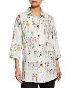 Caroline Rose Fashion Girls Button-Front Linen Boyfriend Shirt