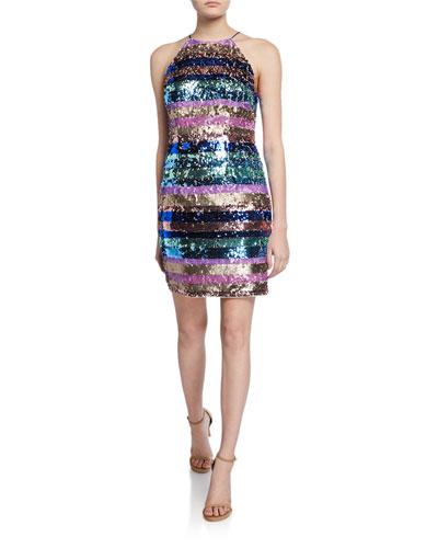 Sequin Stripe Halter Dress