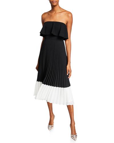 Colorblock Strapless Popover-Bodice Pleated Midi Dress