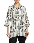 Caroline Rose Brushstroke Button-Front Tissue Linen Side-Fall