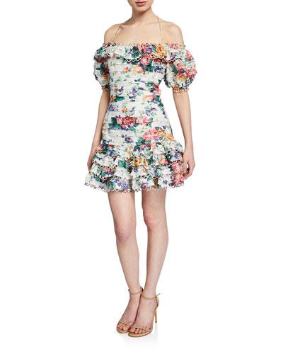 Allia Floral Pintuck Mini Dress