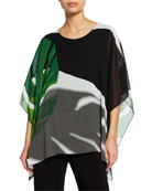 Caroline Rose Palm-Print Short-Sleeve Georgette Caftan w/ Tank