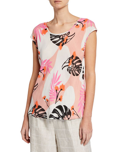 Kari Leaf-Print Scoop-Neck Cap-Sleeve Top