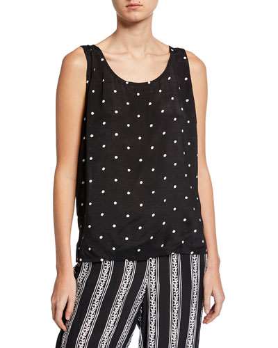 Eda Dots Printed Scoop-Neck Shantung Tank Top