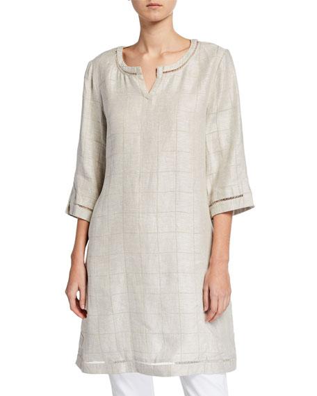 Masai Gessa Checkered 3/4-Sleeve Linen Tunic