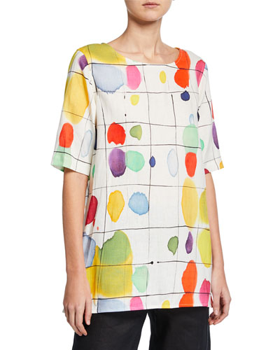 Plus Size Paint Box Printed Elbow-Sleeve Linen Tunic