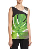 Caroline Rose Petite Palm-Print Stretch-Knit Tank