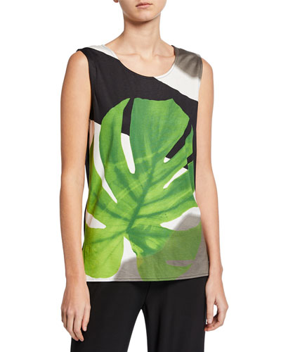 Petite Palm-Print Stretch-Knit Tank