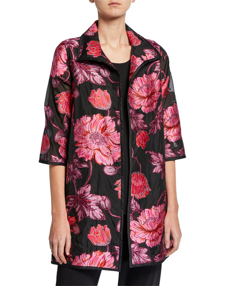 Caroline Rose Plus Size Flower Market Devore Topper Jacket