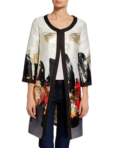 Plus Size Abstract Floral Long Dressy Jacket