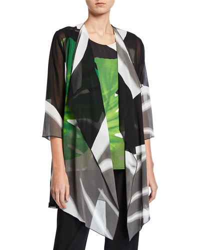 Long Palm-Print Georgette Draped Jacket
