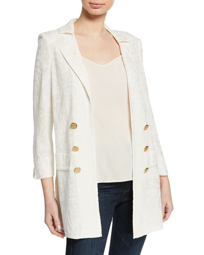 Petite Textured Long Jacket with Golden Buttons
