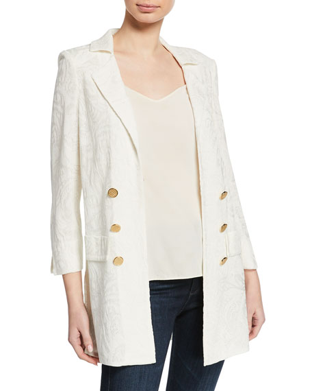 Misook Plus Size Textured Long Jacket with Golden Buttons