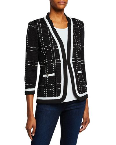 Petite 3/4-Sleeve Short Plaid Jacket with Striped Trim