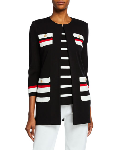 Misook Petite Striped Long Jacket with Button Detail