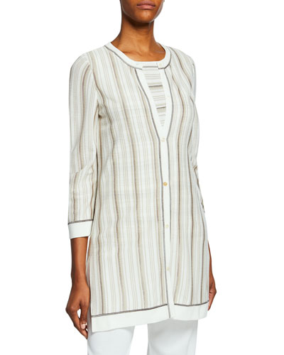 Plus Size Striped Button-Front 3/4-Sleeve Long Jacket with Trim