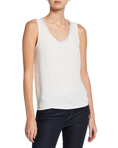 Petite Sequin Moment Scoop-Neck Tank Top