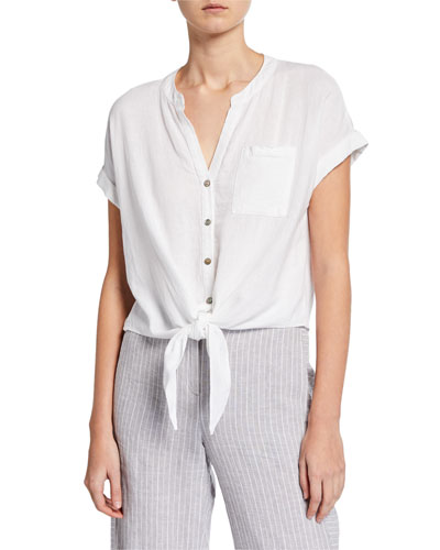Petite Tie It On Button-Front Short-Sleeve Top
