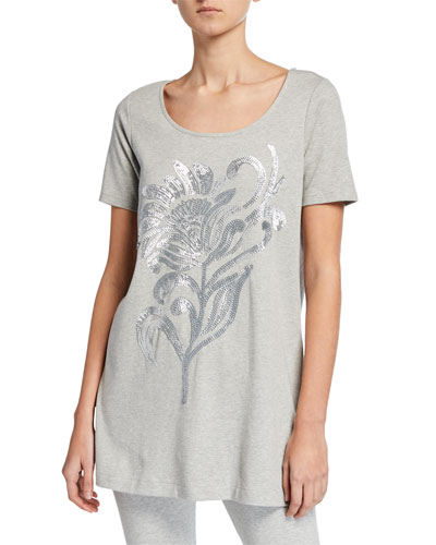 Sequin Flower Short-Sleeve Cotton Interlock Tunic