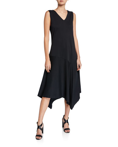 Petite V-Neck Tank Dress with Asymmetric Hem