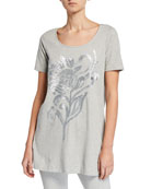 Joan Vass Petite Sequin Flower Short-Sleeve Cotton Interlock