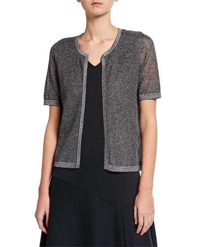 Metallic Mesh Short-Sleeve Open-Front Cardigan