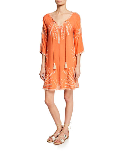 Kezia Embroidered Split-Neck 3/4-Sleeve Cotton Dress w/ Pockets