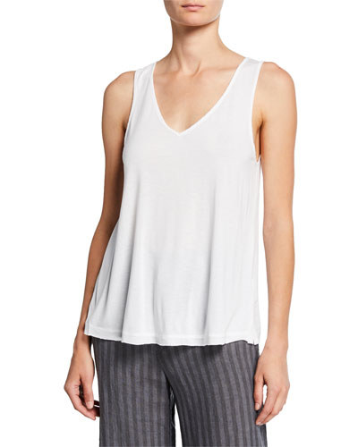 Plus Size V-Neck Jersey Tank with Voile Back