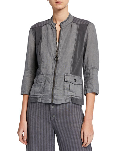 Zip-Front Striped-Back 3/4-Sleeve Linen Utility Jacket