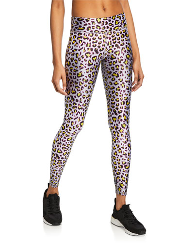 Metallic Cheetah-Print Tall Band Leggings
