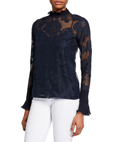 Floral Mesh High-Neck Blouse