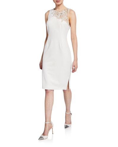 Sleeveless Crepe Cocktail Dress w/ Side Slit & Beaded Detail
