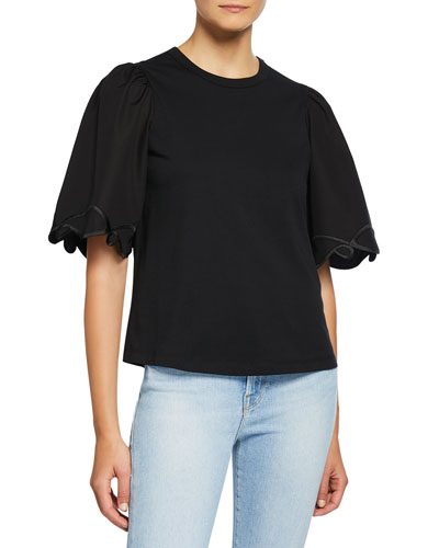 a73543d7d39e Quick Look. See by Chloe · Crewneck Half-Sleeve Embellished Cotton Top