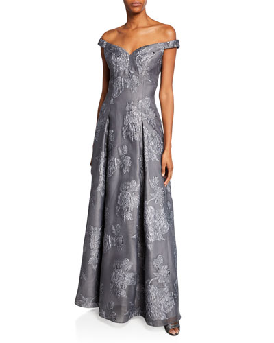 Off-the-Shoulder Jacquard Gown with Pleated Skirt