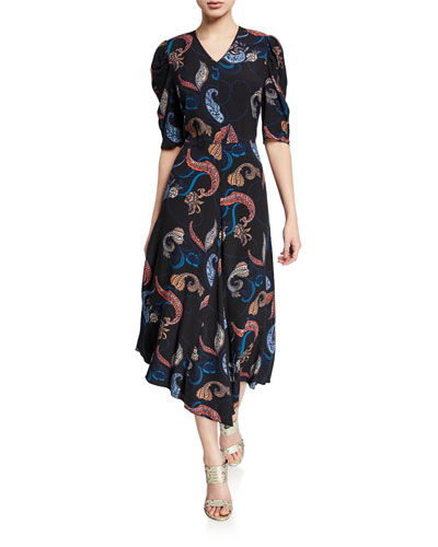 Paisley-Print Short-Sleeve Asymmetrical Midi Dress