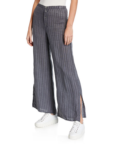 Plus Size Delta Pinstripe Button-Fly Wide-Leg Linen Trousers w/ Slits