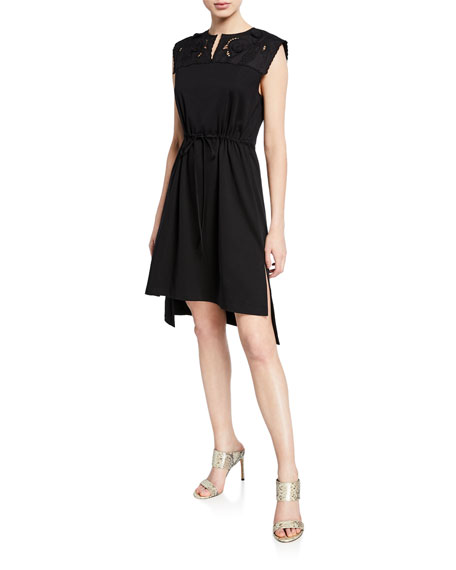 See by Chloe Sleeveless Tie-Waist High-Low Dress with Embroidery