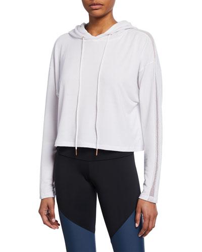 Long-Sleeve Cropped Mesh Pullover Hoodie