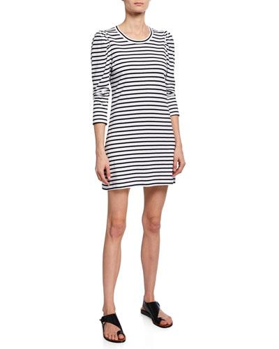 Kidman Striped 3/4-Sleeve Cotton Dress