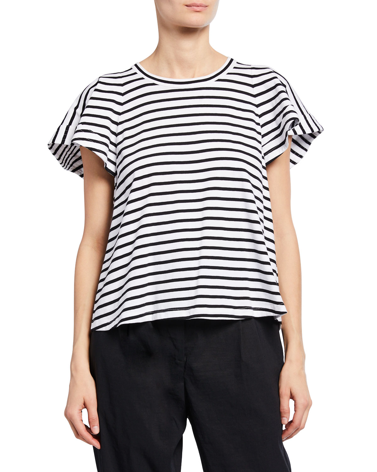 A.l.c Shorts CARRIE STRIPED CREWNECK SHORT-SLEEVE TOP