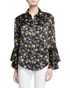 cinq a sept kirby floral-print silk ruffle-sleeve button-down